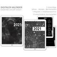 Digitaler Planer 2021, deutsch, schwarze Seiten, hochkant Bild 1
