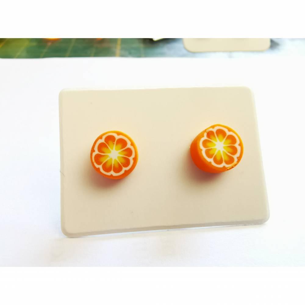Fimo Ohrstecker Orange Blume Bild 1