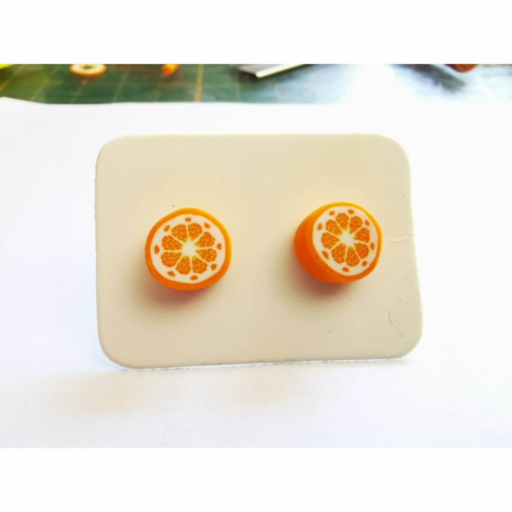 Fimo Ohrstecker Orangen Design Bild 1