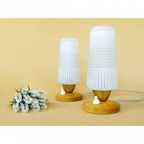 Vintage - Alte Nachttischlampe 50er Glas Holz weiß Lampe Tischlampe