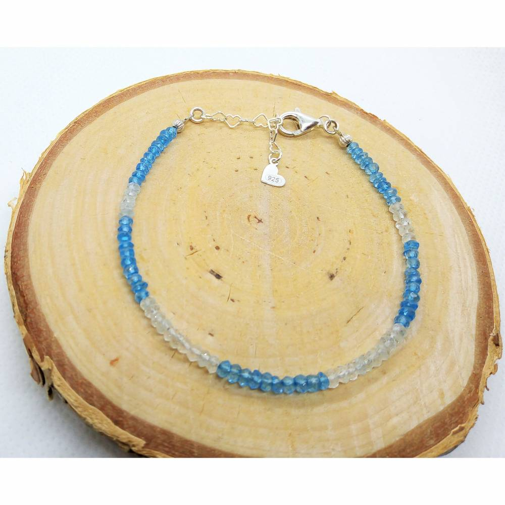 Blautopas Armband. Silber 925 - Echte Natürliche Edelstein - Handarbeit - Fair Trade Bild 1
