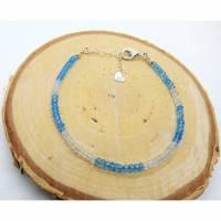 Blautopas Armband. Silber 925 - Echte Natürliche Edelstein - Handarbeit - Fair Trade