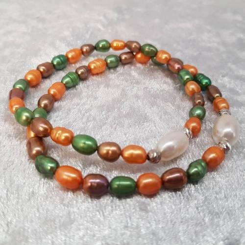 Armband aus Süßwasserperlen 4-5 mm, Perlenarmband, Perlenschmuck, 925er Silberperlchen