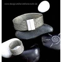 EDELSTAHL STRICK ARMBAND - doppelt gestricktes ARMBAND aus Edelstahldraht mit Edelstahl Magnetschließe Bild 1