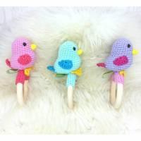 Rassel gehäkelt Vogel, Rosa, Blau, Lila, 100% Baumwolle, Wunschfarbe   Bild 1