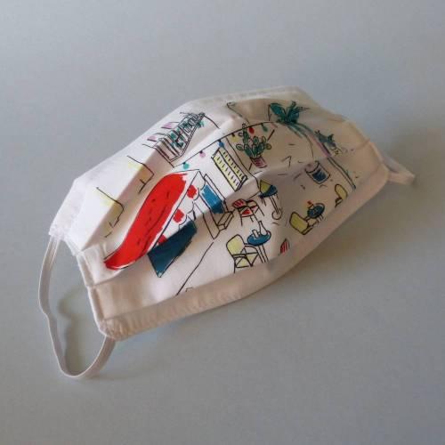Behelfsmaske, Mund-Nasen-Abdeckung, 2-lagig, weiß mit Motiv, innen hell, leichte Baumwolle, waschbar