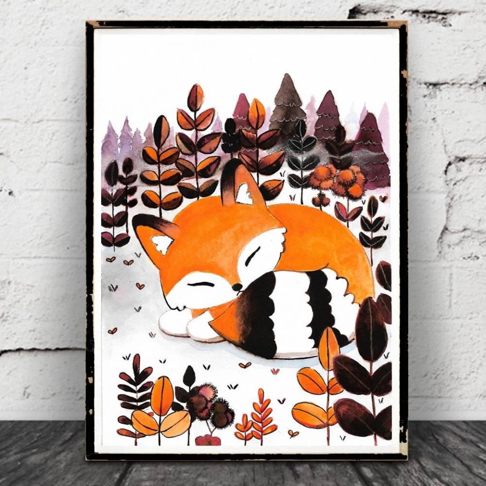 Fuchs Aquarell Poster,Herbst, abstrakt, Wald, Print, Druck, Sleeping Fox, Waldtiere Bild 1