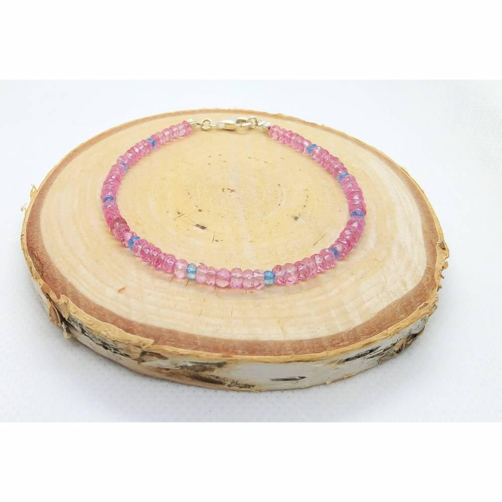 Pink und Blau Topas Armband. Silber 925 - Echte Natürliche Edelstein - Handarbeit - Fair Trade Bild 1