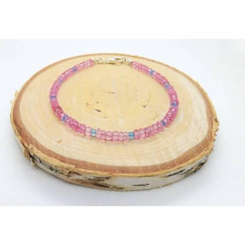 Pink und Blau Topas Armband. Silber 925 - Echte Natürliche Edelstein - Handarbeit - Fair Trade