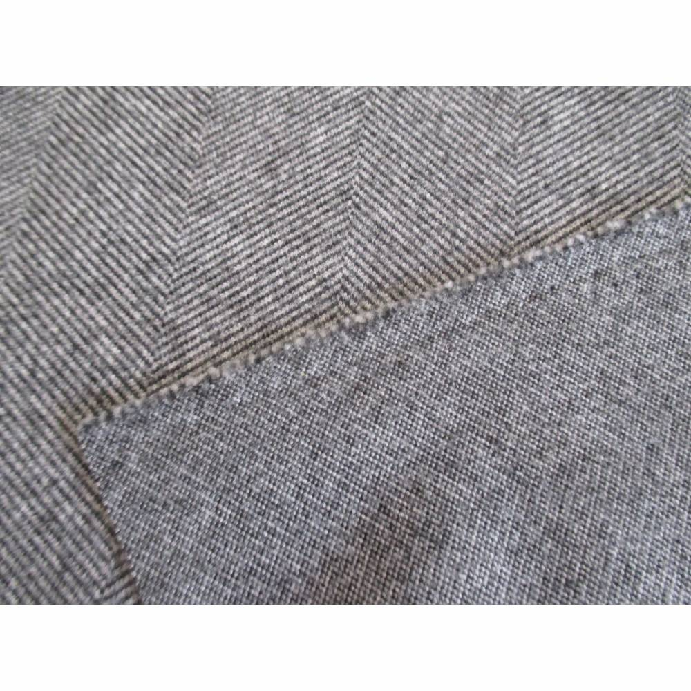 Mantelstoff Jackenstoff Jacquard in Wolloptik mit Fischgrat Muster grau/wollweiß (1m/14,-€ ) Bild 1