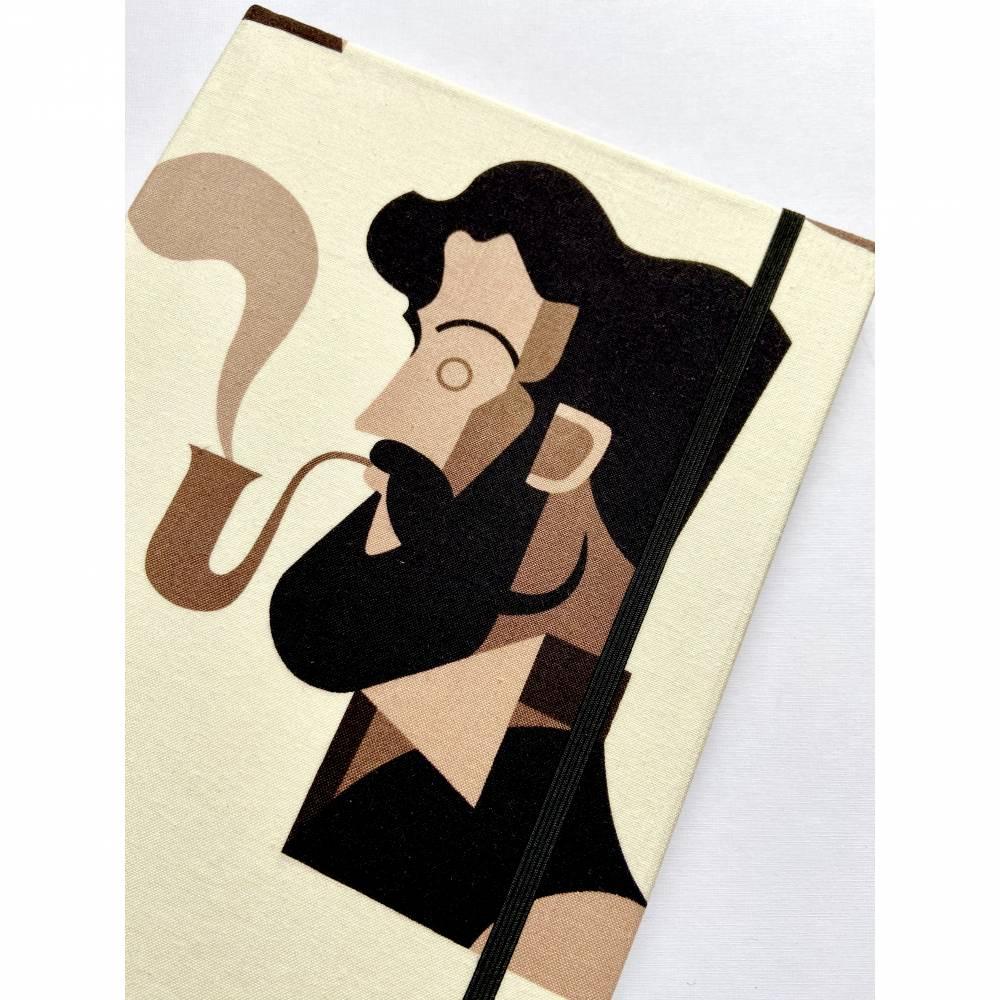 """Notizbuch """"Mustache&Pipe"""" Kladde Hardcover ähnlich A5 17,5 x 23 cm stoffbezogen Stoff Schnurrbart Bart Bartträger Raucher Pfeifenraucher Tabak Gentleman Bild 1"""