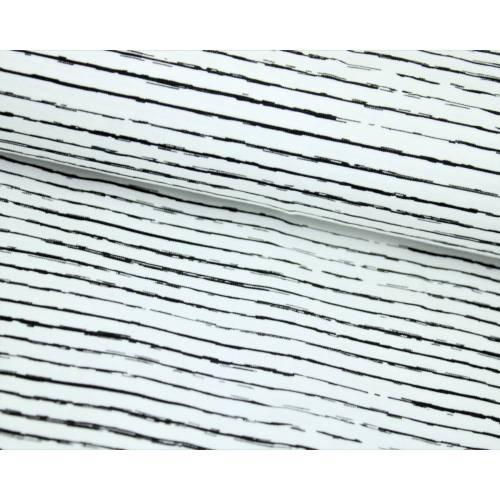 Baumwolljersey Stripe schwarz auf weiss