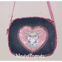 niedliche Mädchentasche mit rosa Hasenapplikation / Jeanstasche / Kindergartentasche / Kindertasche Bild 1