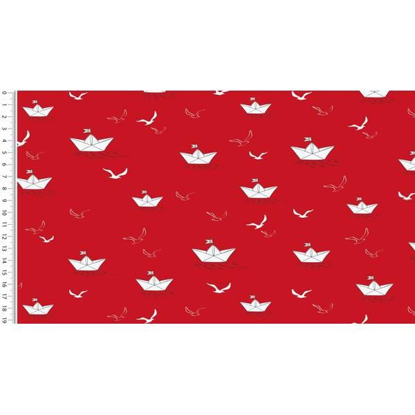 Webware Popeline Papierschiffe rot Bild 1