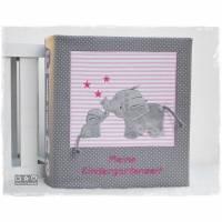 Ordner/Portfolio grau/rosa mit Elefanten-Name und auf Wunsch Fotosichthülle Bild 1
