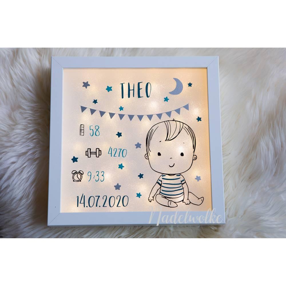 Leuchtrahmen Geschenk Geburt Geburtsdaten Baby Junge Bild 1