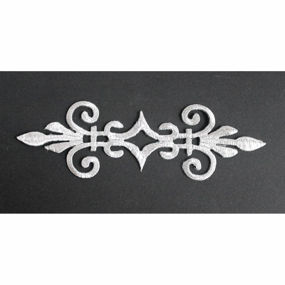 Applikation silberfarben gestickt Aufbügeln Ornament 17 x 5,5 cm Bild 1