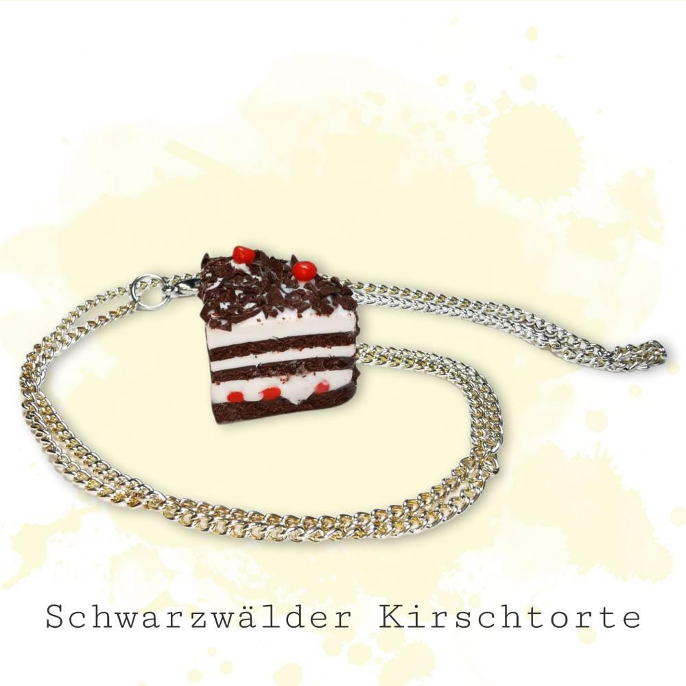 Torte, Kuchen, Kette aus Fimo, Erdbeeren, Blaubeeren Bild 1