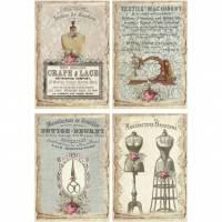 Reispapier - Motiv Strohseide - A4 - Decoupage - Vintage - Shabby - Sewing Labels - 19050 Bild 1