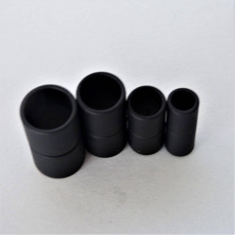 Magnetverschluss Zylinder, Farbe schwarz matt, Bohrung 6, 8, 10 oder 12 mm, für die Schmuckherstellung, zum Einkleben  Bild 1