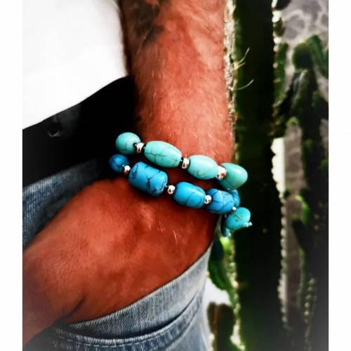 Armband, Türkis und Edelstahl, Armband für Sie und Ihn, flexibel