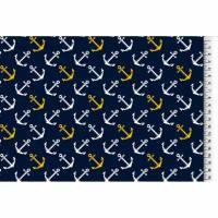 Jersey Anker blau weiß gelb, maritim Ankerjersey Stoff Meterware Bild 1