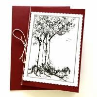 Stilvolle Trauerkarten mit Baum, 2 Klappkarten mit Umschlag ohne Spruch, Beileidskarte handgebunden Bild 1