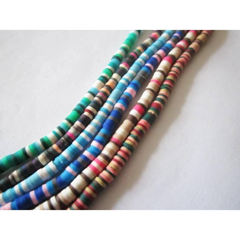 Heishi Perlen,Polymer Clay,Scheiben 4 mm x 1 mm,mehrfarbig,1 Strang Bild 1