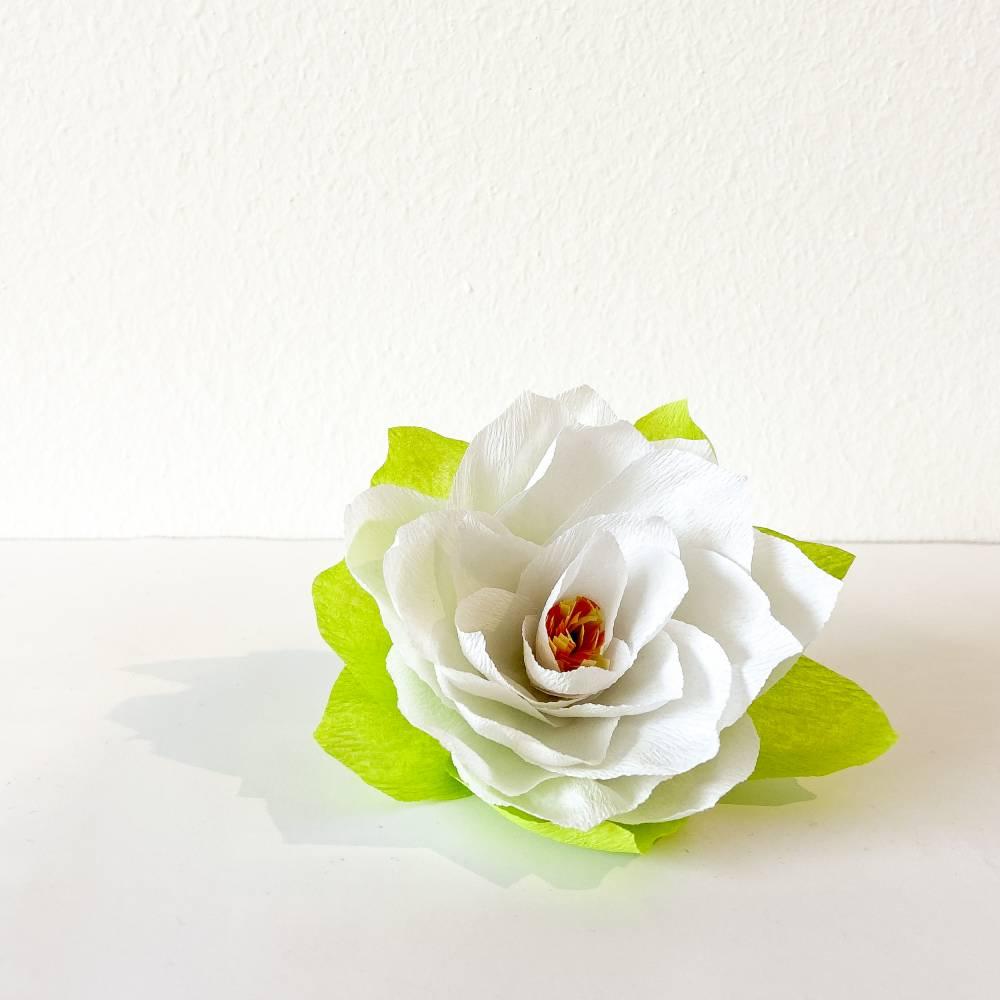 """Papierblume """"Seerose"""" weiß Bild 1"""
