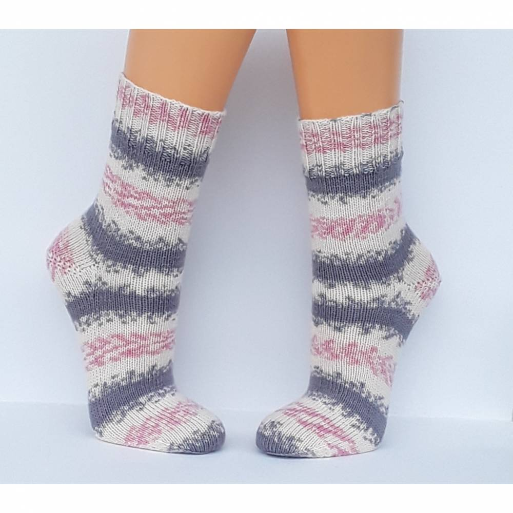 Socken Wollsocken handgestrickt Größe 38/39 Bild 1