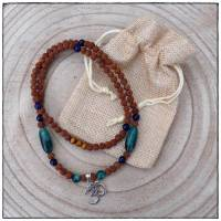 Rudraksha Mala mit OM-Anhänger (Sterlingsilber 925), Kraftschmuck, Perlenkette Bild 1