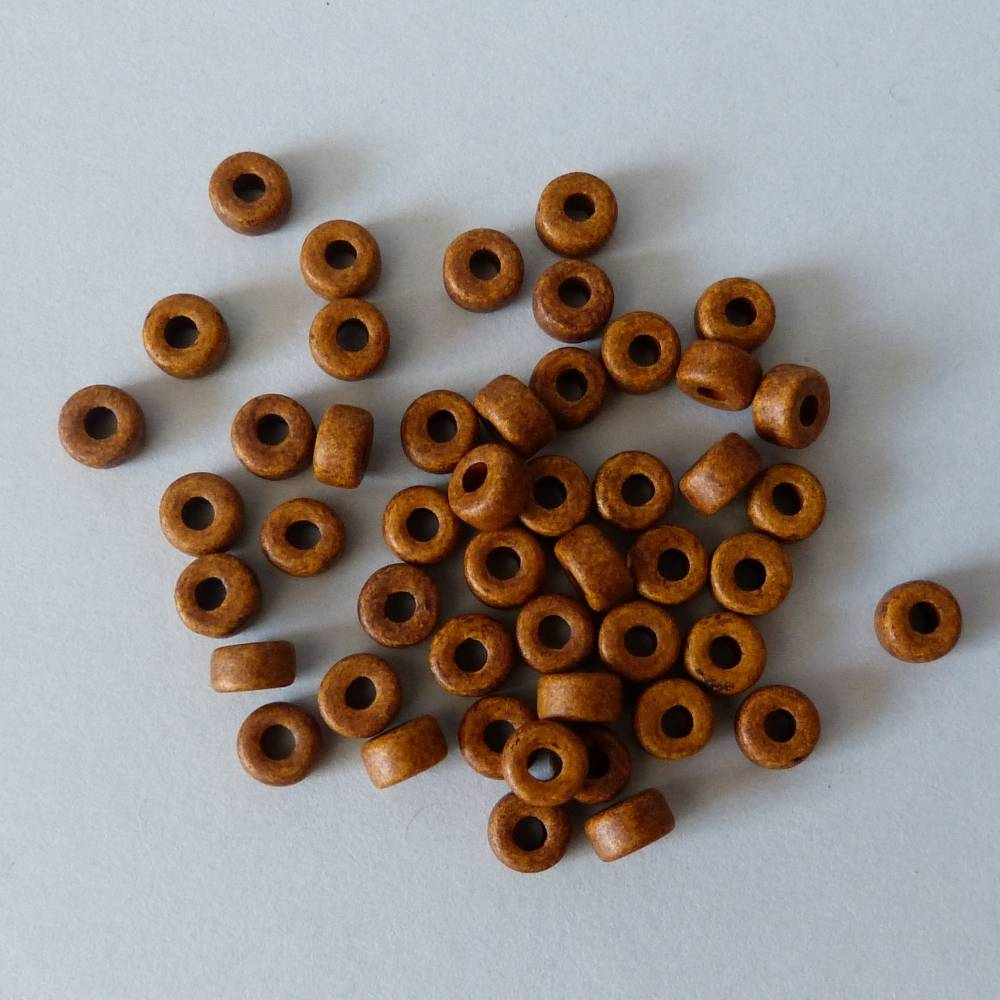 50 Keramikperlen, Walze, braun, Schmuckherstellung, Perlen, Keramik, Zylinder, Rondell, Trommel, Schmuck selber machen  Bild 1