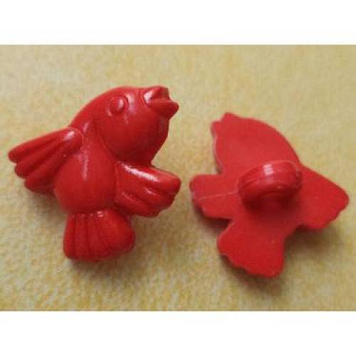Knöpfe Vogel rot 17mm x 16mm (6180) Kinderknöpfe
