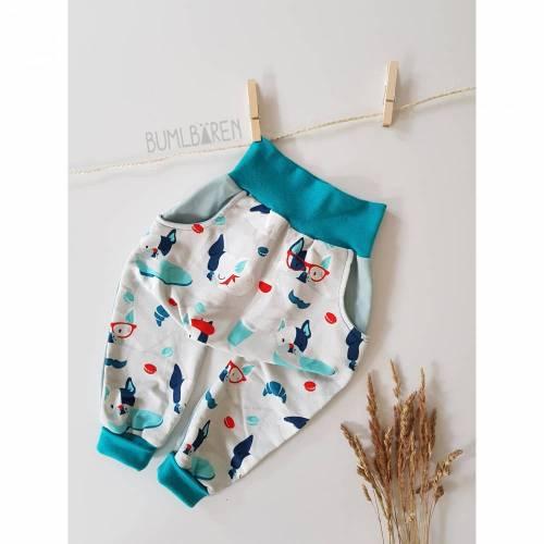 Baby-Baggypants 80 86 French Terry Bulldoggen Paris Mintgrün Taschen Bündchen Türkis