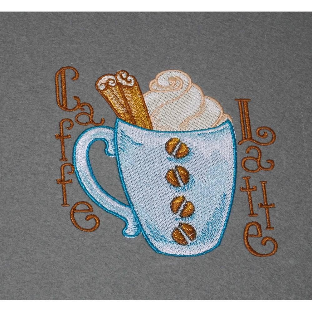 Platzsets Caffe Latte Tischsets ca. 33 x 44 cm bestickt auf grauem Wollfilz / Geschenkidee Weihnachten Geburtstag Bild 1