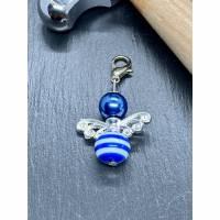 Perlenengel Schlüsselanhänger Perlen-Engel Charm Blau Bild 1