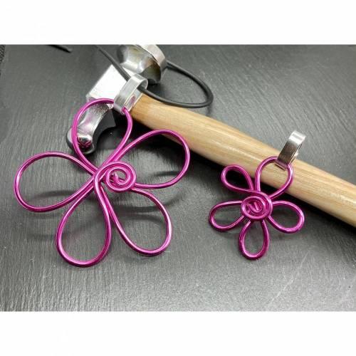 Anhänger Blume Duo in groß und klein Pink Kettenhänger Blumenanhänger