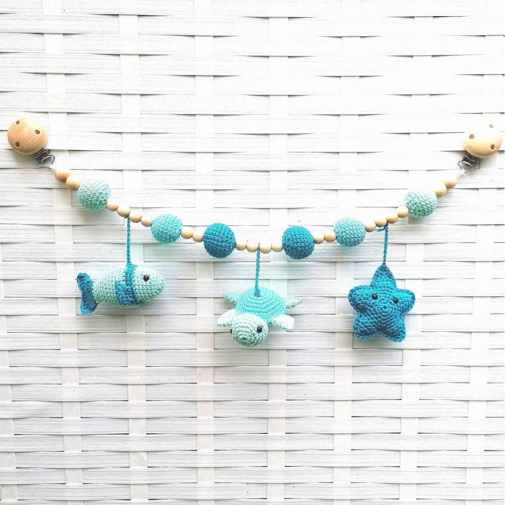 Kinderwagenkette gehäkelt Blau, 100% Baumwolle, Schildkröte / Fisch / Seestern Bild 1
