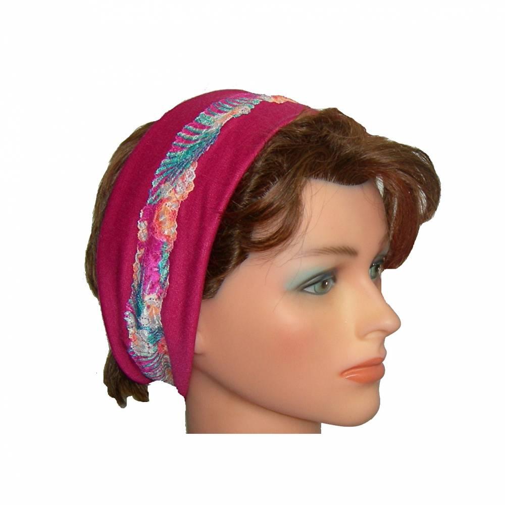 Haarband Jersey Spitze Blumenmuster pink bunt Bild 1