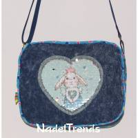 niedliche Kindertasche mit blauer Hasenapplikation / Jeanstasche / Kindergartentasche / Kindertasche Bild 1