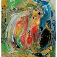 Acryl pouring art 30x30cm farbenfroh Bild 1