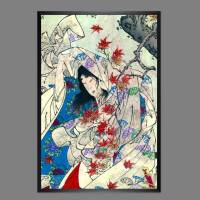 Japanische Kunst - Holzschnitt 1880 - Herbst - Im Sturm - Poster Kunstdruck - Vintage Art - Kunst - Druck Bild 1