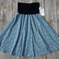 Damenrock Jerseyrock Größe 36-40 universal - zarte Blümchen auf hellblau Bild 1