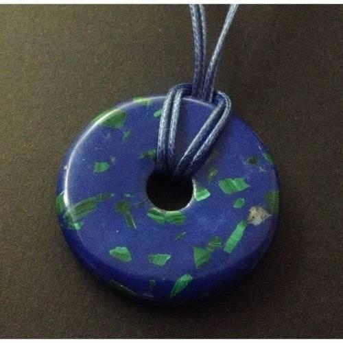 Edelstein Ketten-Anhänger Donut SYNTHETISCHER TÜRKIS, ca. 40 mm, mit/ohne Wachsschnur-Kette