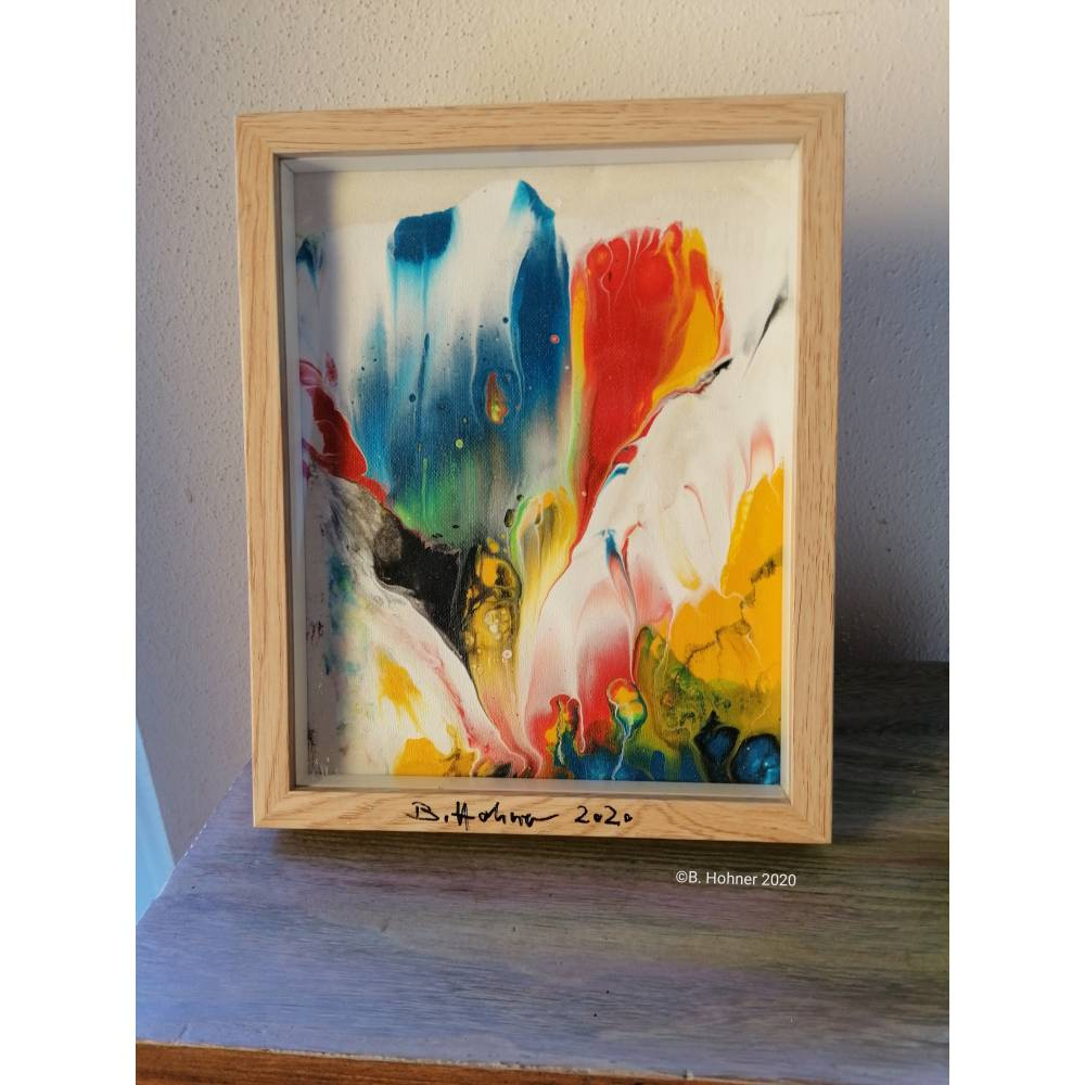"Acryl pouring art im Glasrahmen ""colorful flowers""  Bild 1"