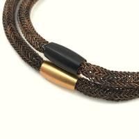doppelt gestricktes UNISEX ARMBAND aus braun-schwarzem Kupferdraht mit Magnetverschluss in schwarzem ODER roségoldfarbenem Edelstahl Bild 1