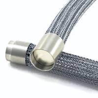SCHLAUCHKETTE - doppelt hand gestricktes Collier in Graphit mit matt gebürstetem Edelstahl-Magnetverschluss Bild 1