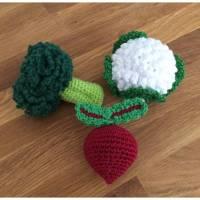 Gehäkeltes Gemüse für den Kaufladen, 3 teiliges Set Blumenkohl, Brokkoli und Rote Bete Bild 1