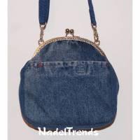 sportlich-elegante Jeanstasche mit silberfarbenem Bügel / Clipverschluss / Umhängetasche / Schultertasche / Handtasche /damentasche Bild 1