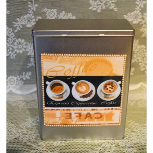 Vorratsdose/Dekodose braun-beige mit Kaffeemotiv